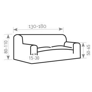 Illustratie van de bank 130-180cm breed, 80-110cm hoof, 50-65cm hoog bij de armleuning en de armleuning is tussen 15-30cm breed