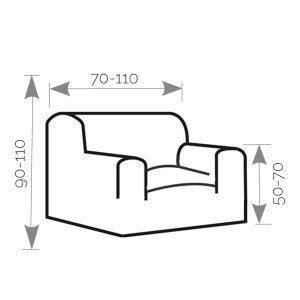 Afbeelding van de afmetingen. 70-110cm breed. 90-110 cm hoog en 50-70cm hoog bij de armleuning.